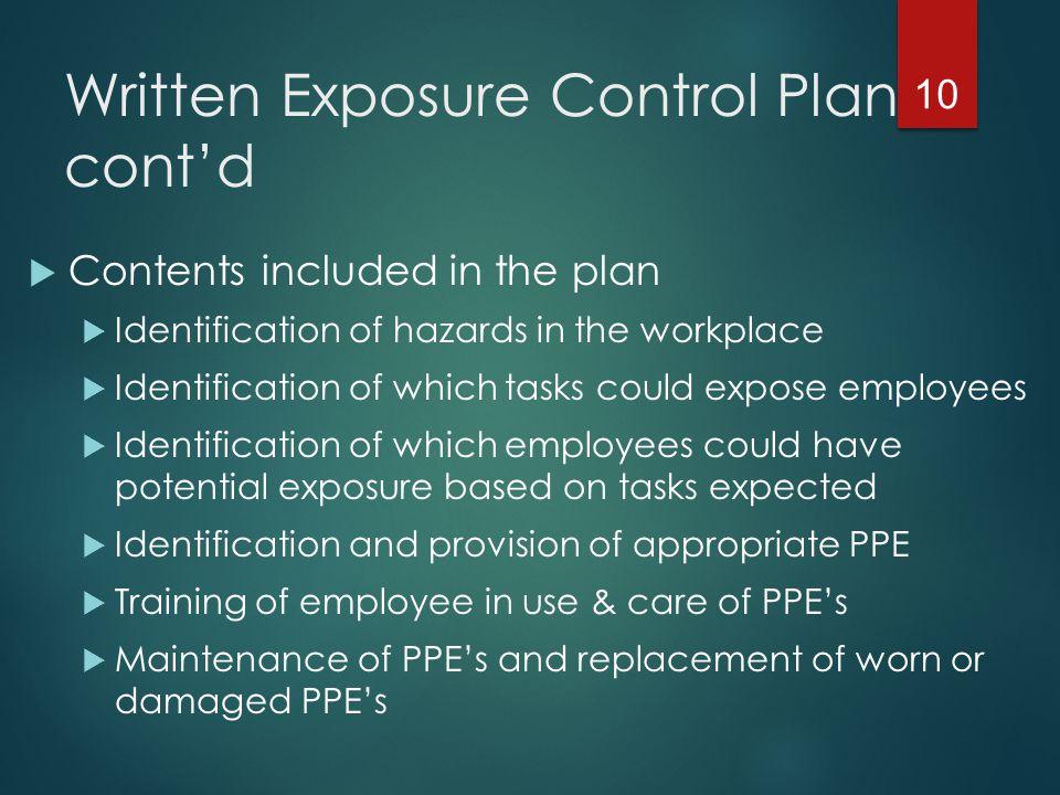 Written Exposure Control Plan cont'd