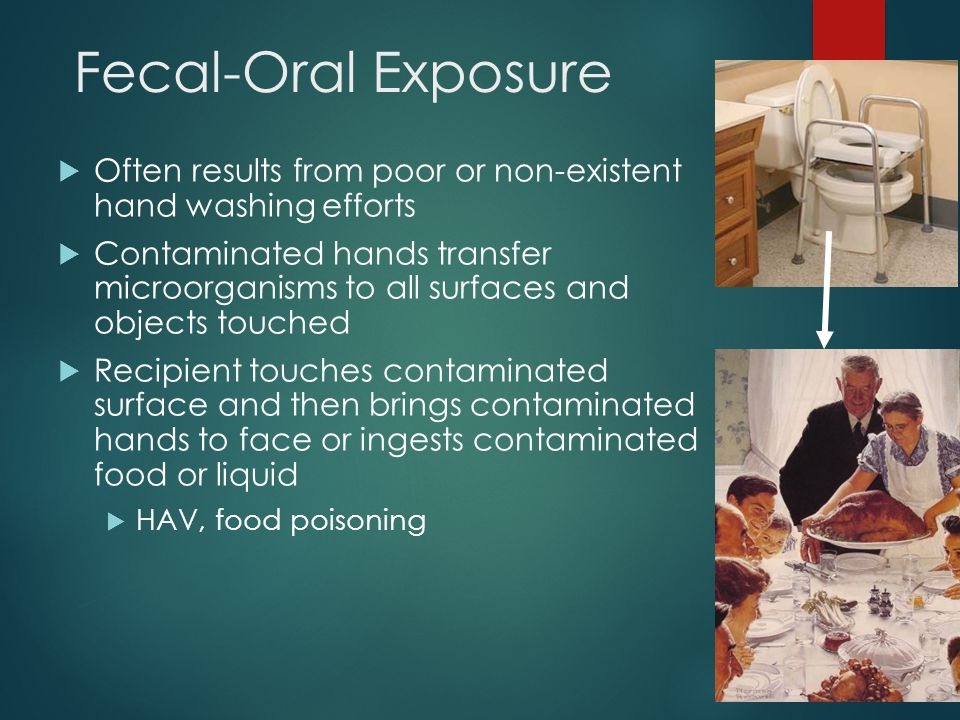 Fecal-Oral Exposure Often results from poor or non-existent hand washing efforts.