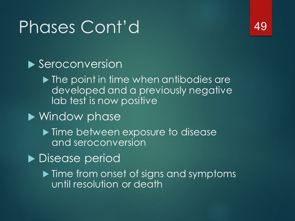 Phases Cont'd Seroconversion Window phase Disease period