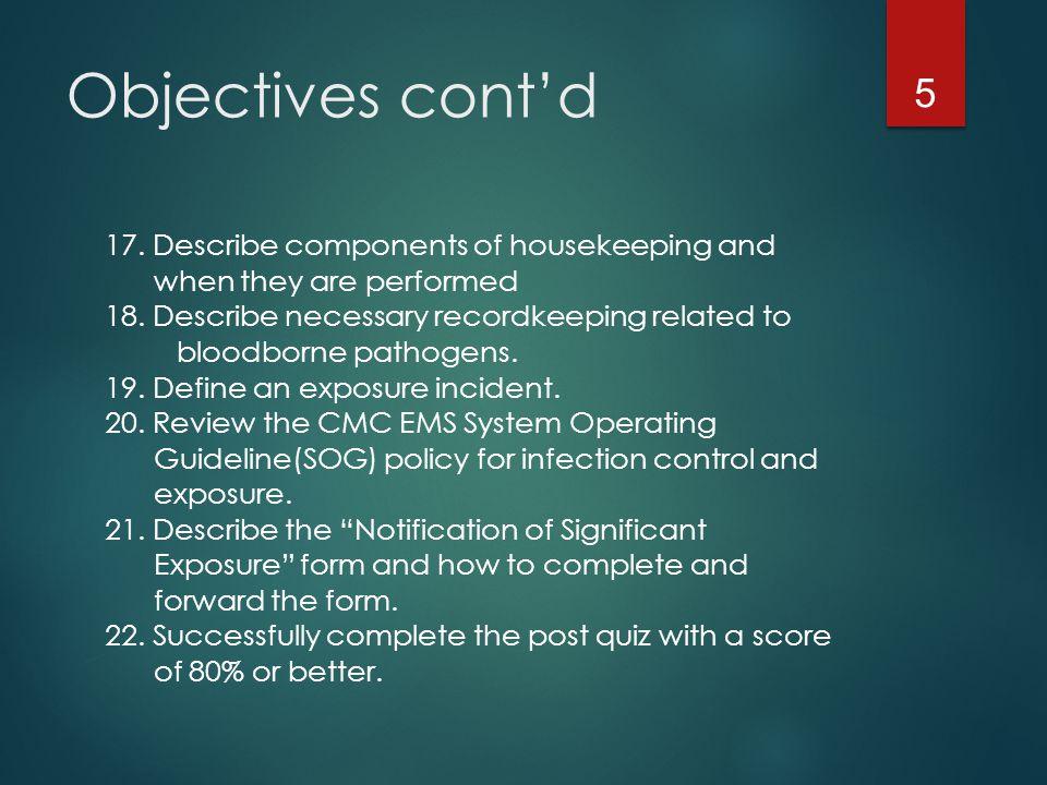 Objectives cont'd