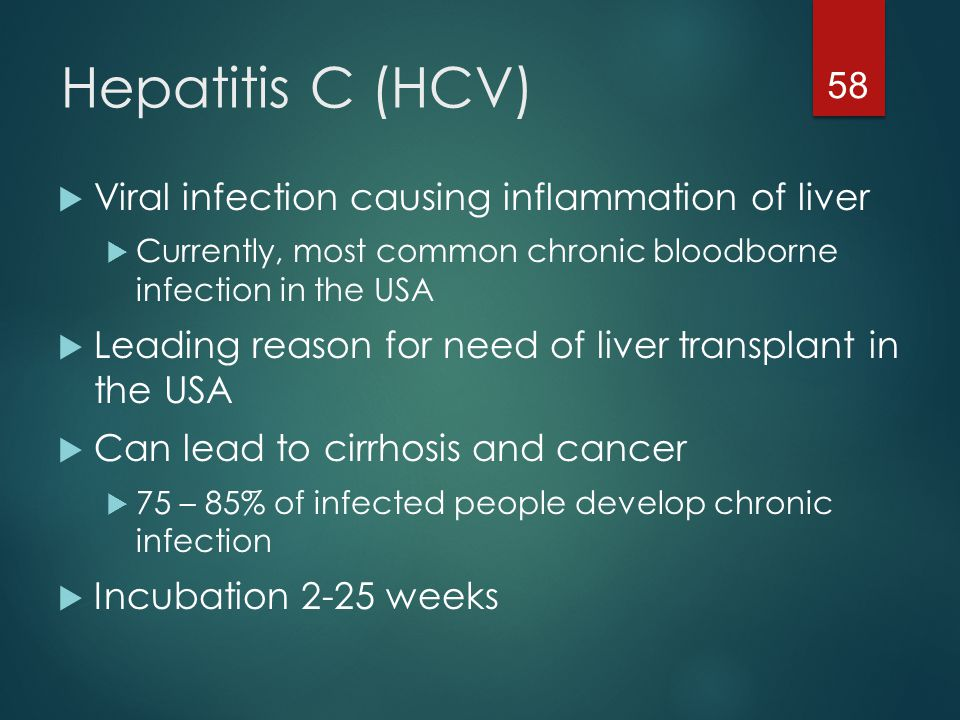 Hepatitis C (HCV) Viral infection causing inflammation of liver