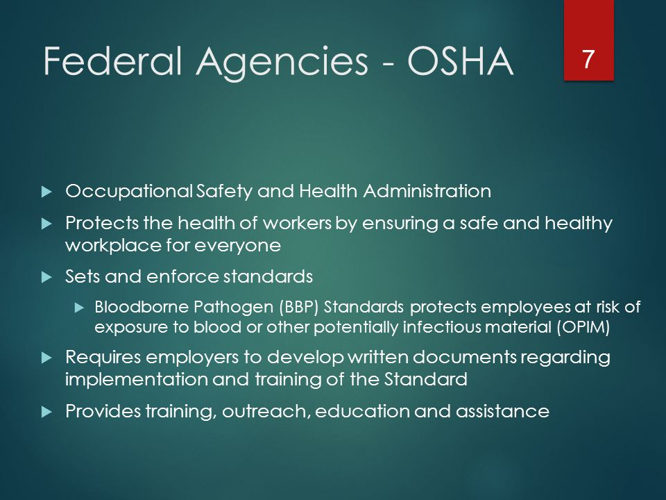 Federal Agencies - OSHA