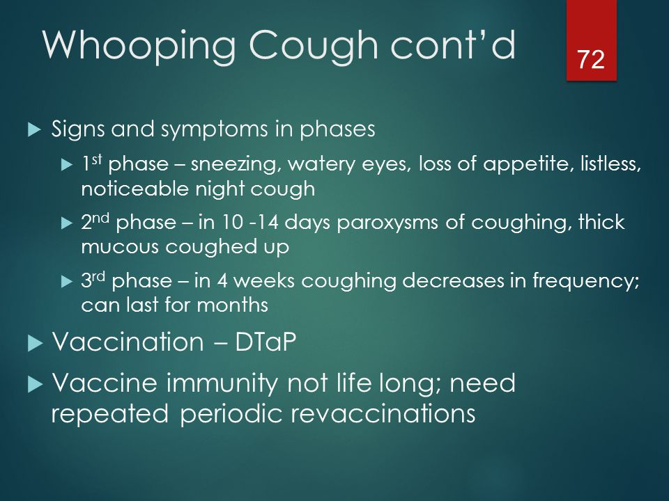 Whooping Cough cont'd Vaccination – DTaP
