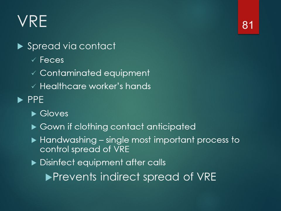 VRE Prevents indirect spread of VRE Spread via contact PPE Feces