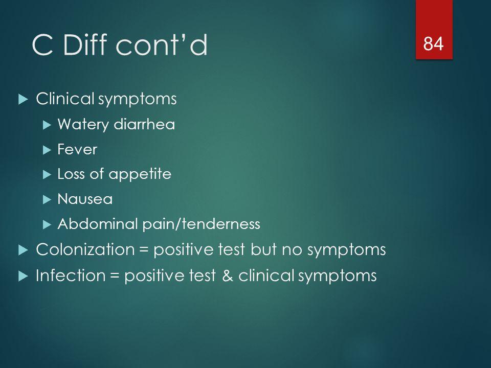 C Diff cont'd Clinical symptoms
