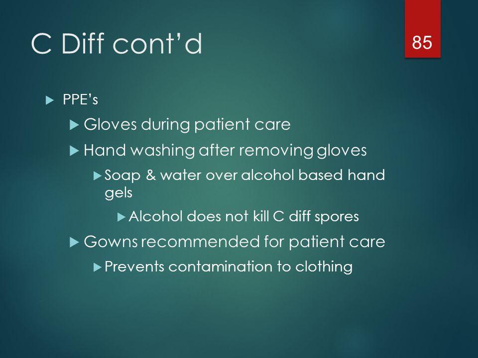 C Diff cont'd Gloves during patient care