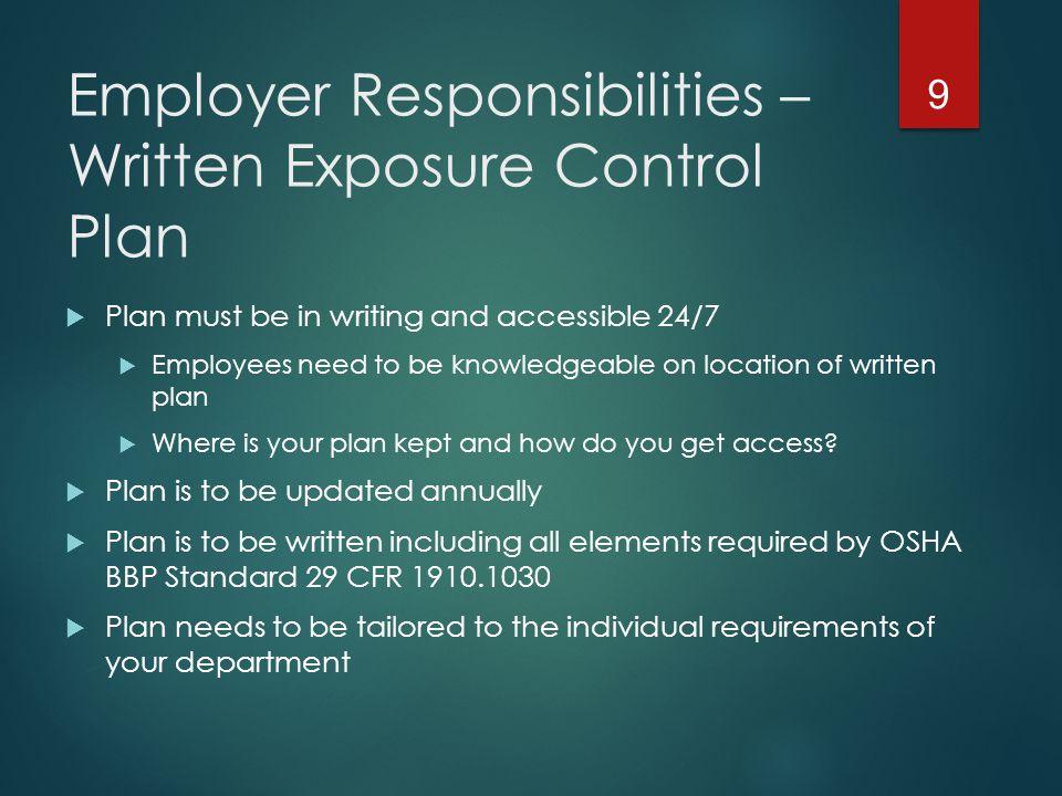 Employer Responsibilities – Written Exposure Control Plan