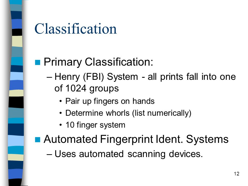 Classification Primary Classification: