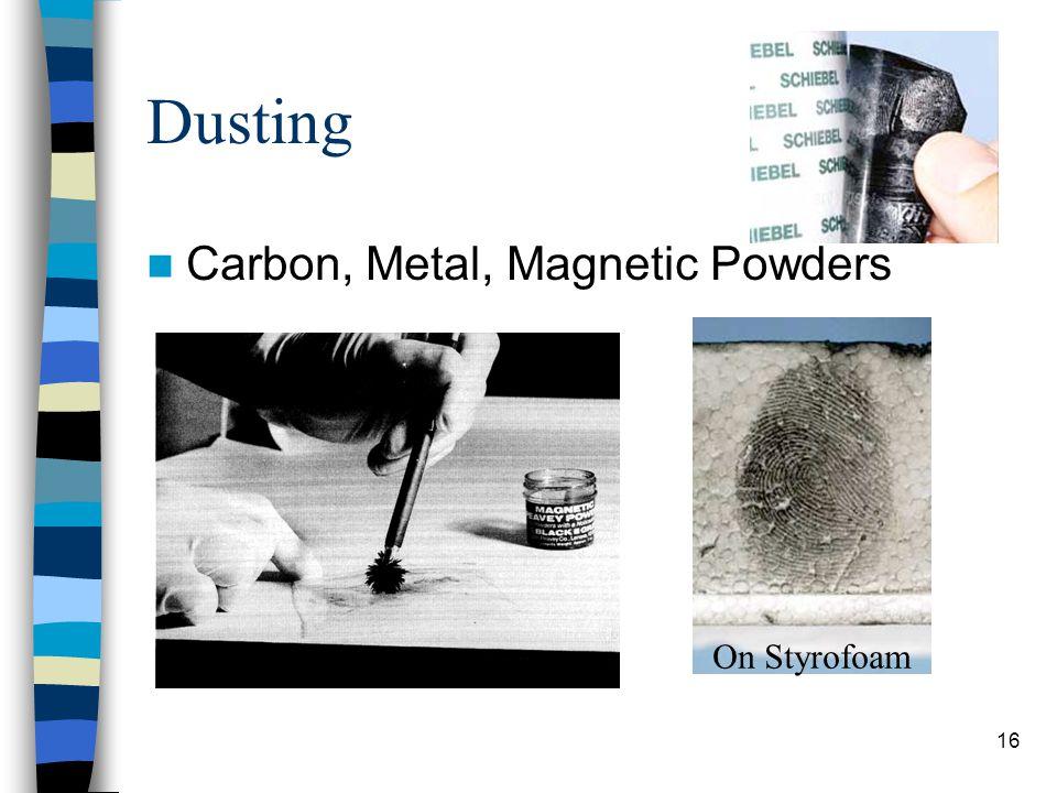 Dusting Carbon, Metal, Magnetic Powders On Styrofoam