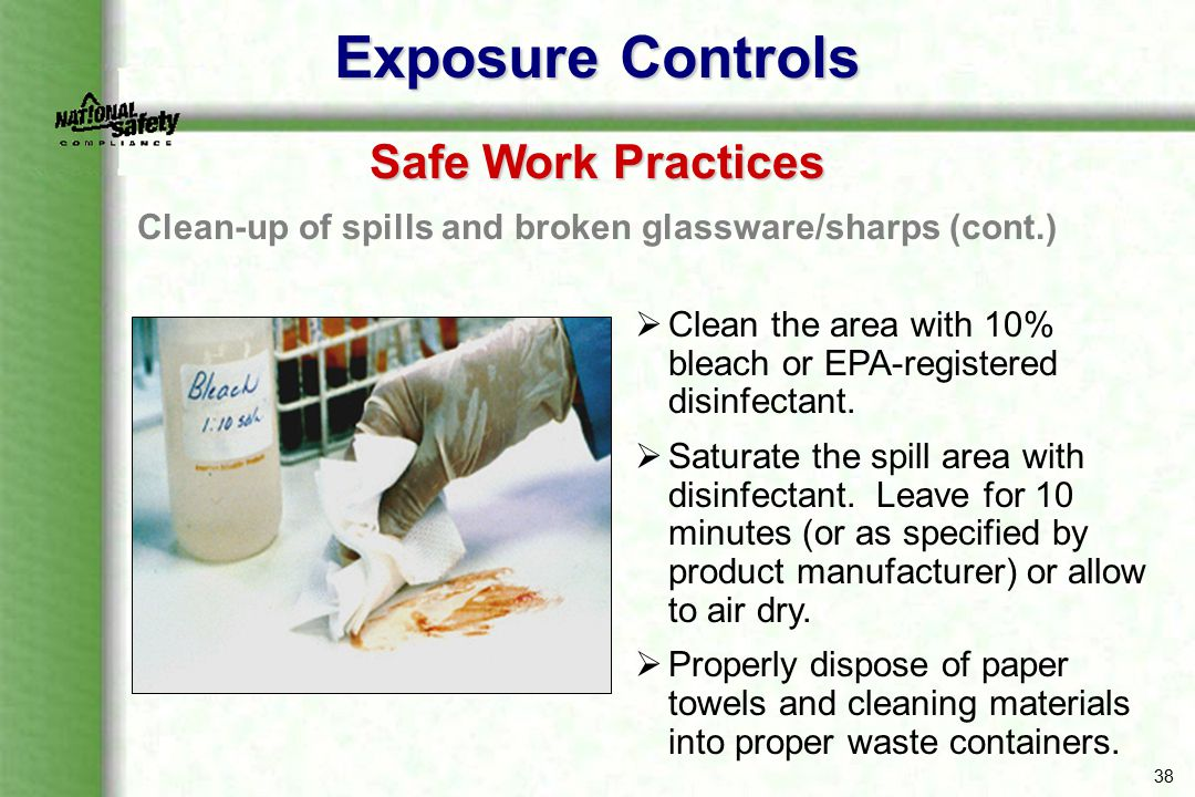 Clean-up of spills and broken glassware/sharps (cont.)