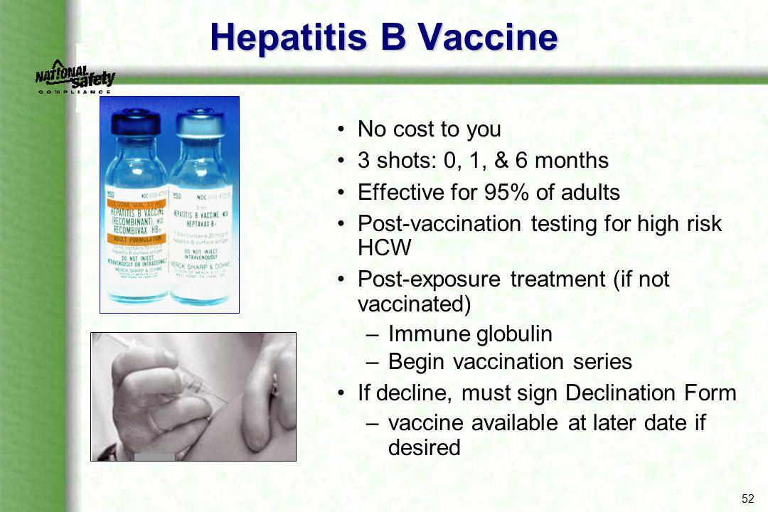 Hepatitis B Vaccine No cost to you 3 shots: 0, 1, & 6 months