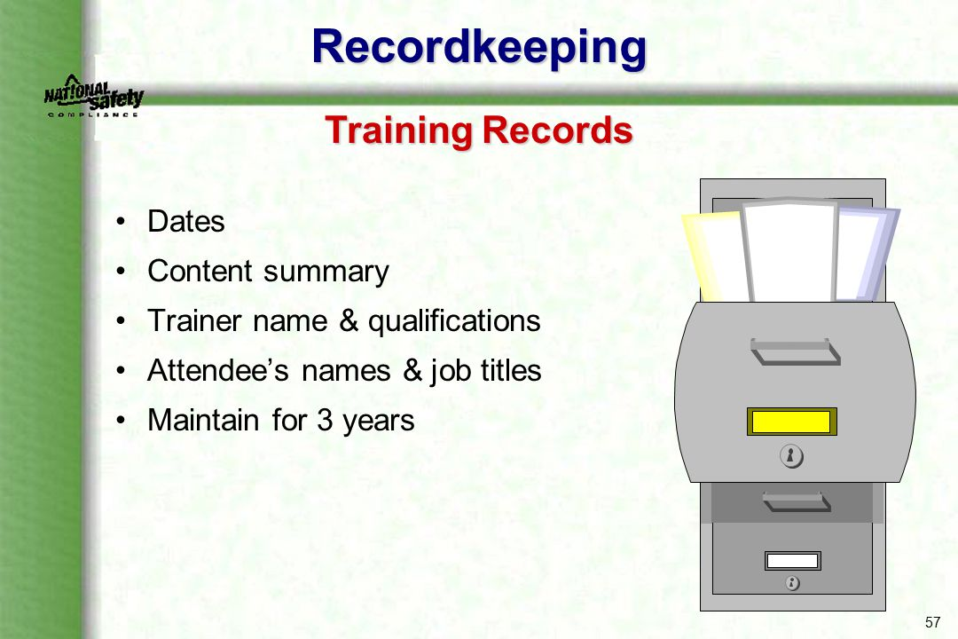 Recordkeeping Training Records Dates Content summary