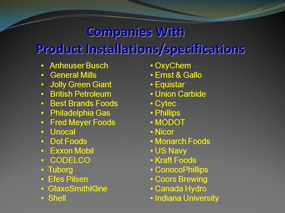Companies With Product Installations/specifications