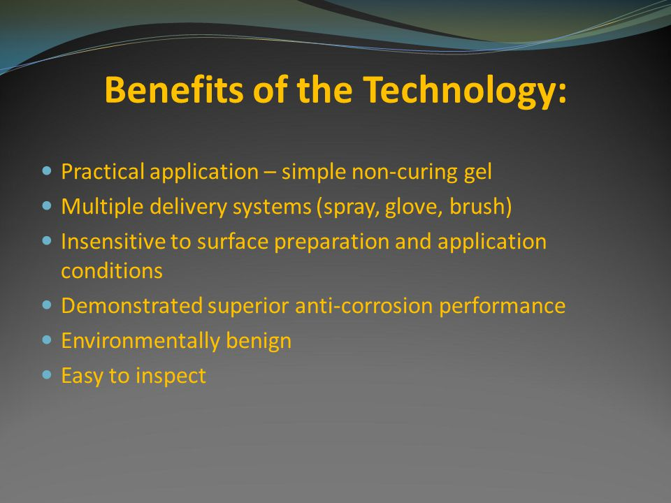 Benefits of the Technology: