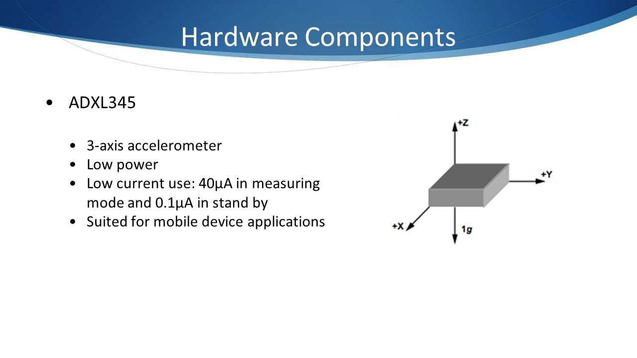 Hardware Components ADXL345 3-axis accelerometer Low power