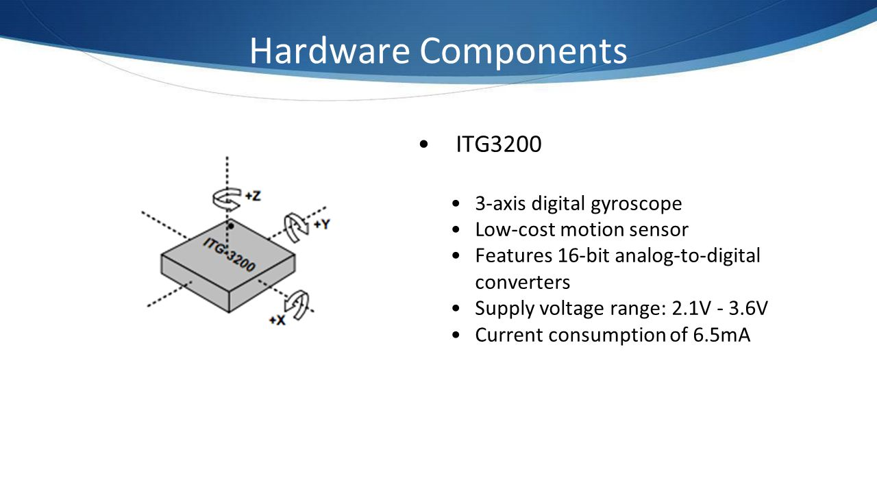 Hardware Components ITG3200 3-axis digital gyroscope