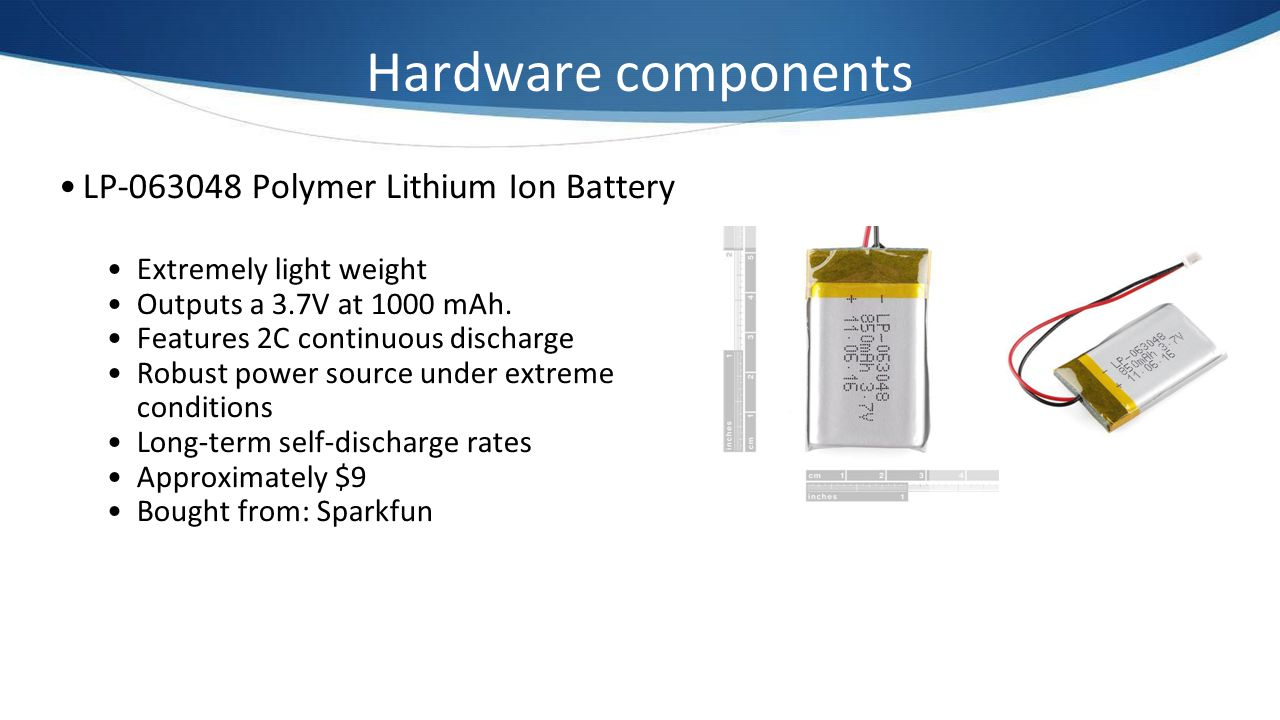 Hardware components LP-063048 Polymer Lithium Ion Battery