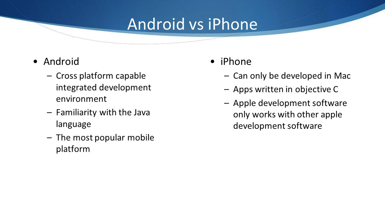 Android vs iPhone Android iPhone