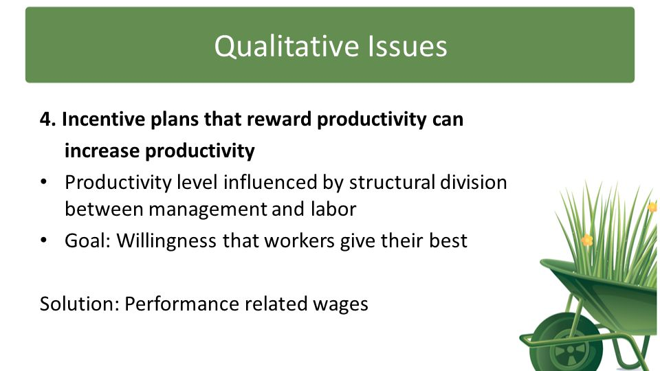 Qualitative Issues 4. Incentive plans that reward productivity can