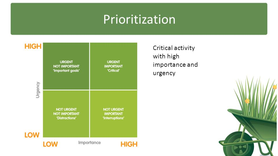 Prioritization Critical activity with high importance and urgency