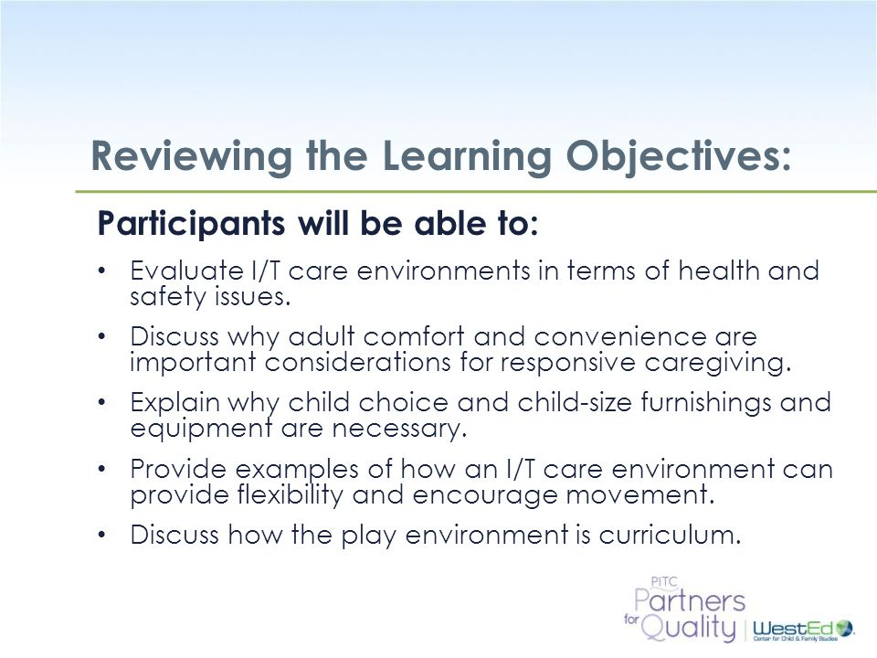 Reviewing the Learning Objectives: