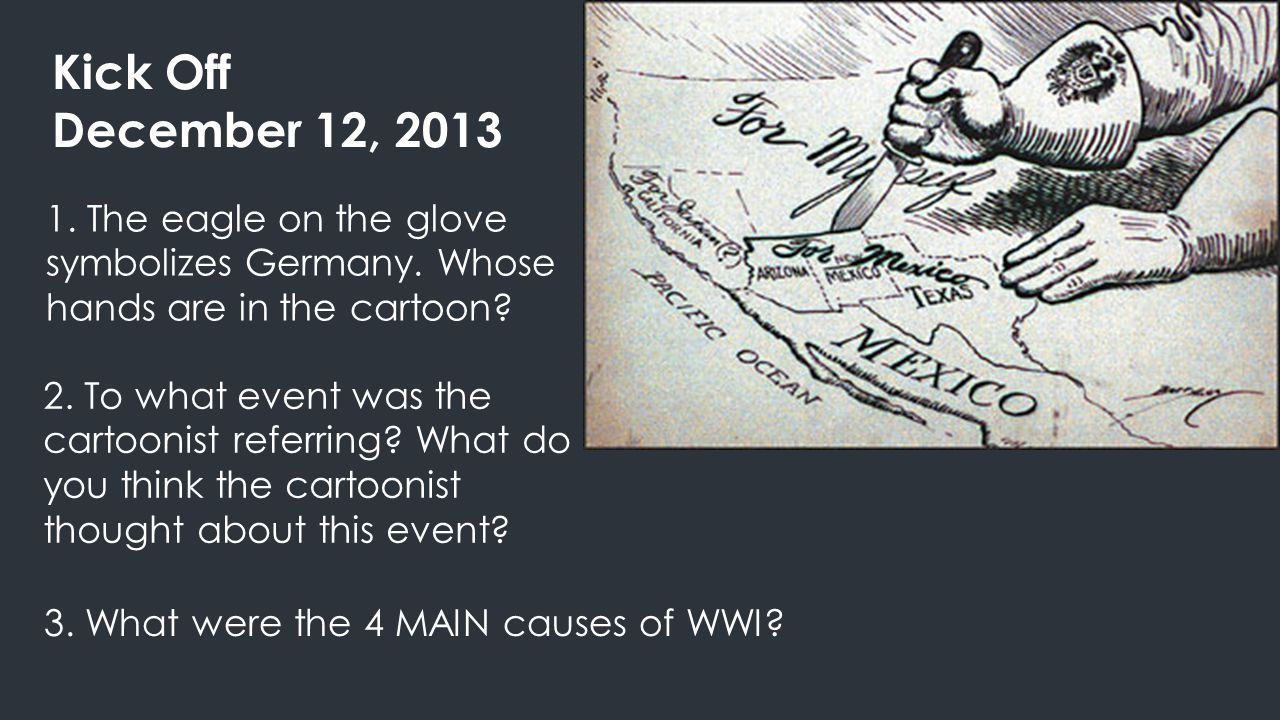 Kick Off December 12, 2013 1. The eagle on the glove symbolizes Germany. Whose hands are in the cartoon