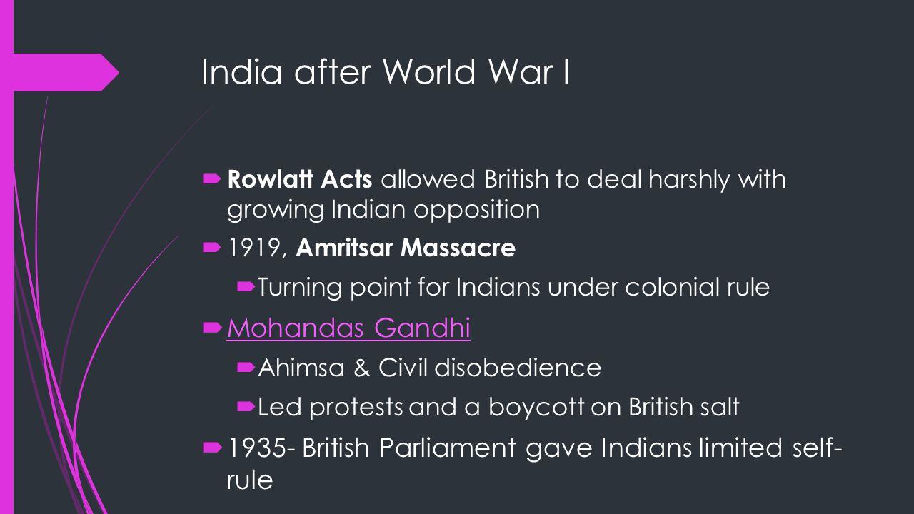 India after World War I Mohandas Gandhi