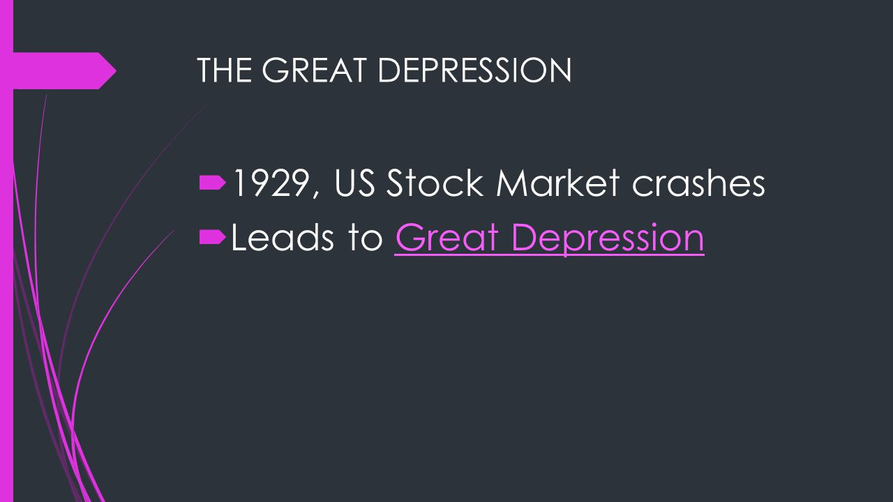 1929, US Stock Market crashes Leads to Great Depression