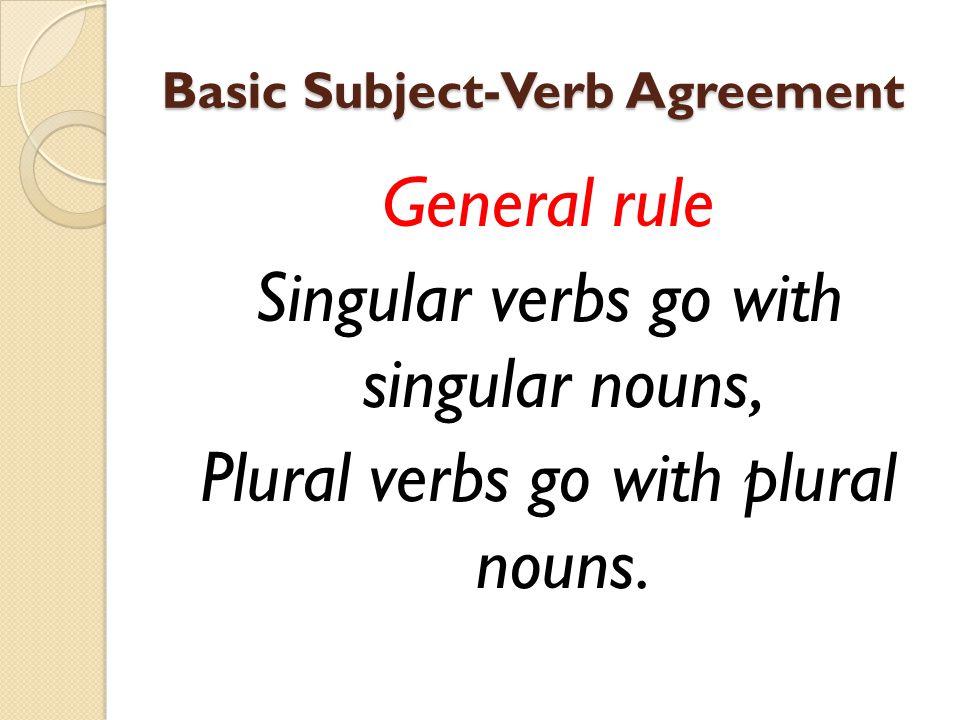 Basic Subject-Verb Agreement