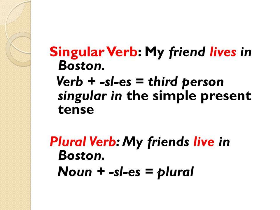 Singular Verb: My friend lives in Boston