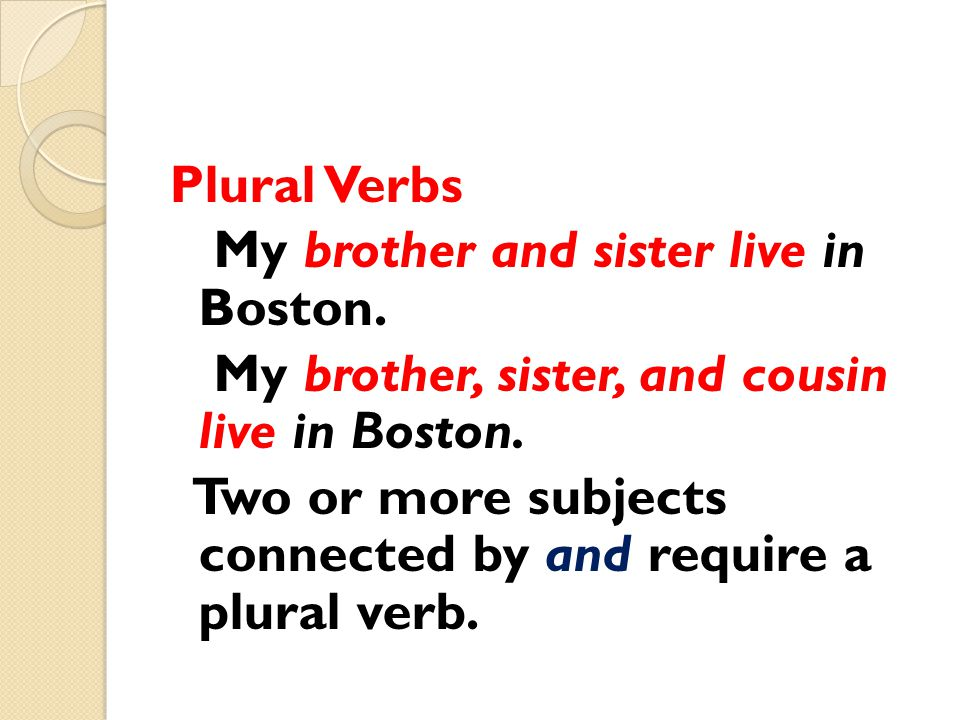 Plural Verbs My brother and sister live in Boston