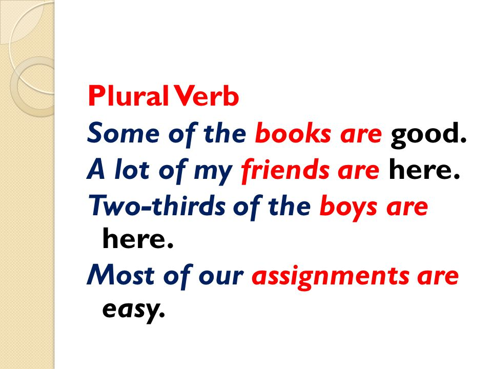 Plural Verb Some of the books are good. A lot of my friends are here