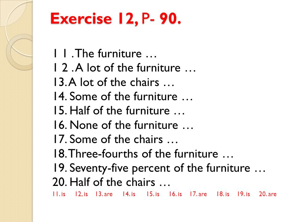 Exercise 12, P- 90. 1 1 . The furniture …