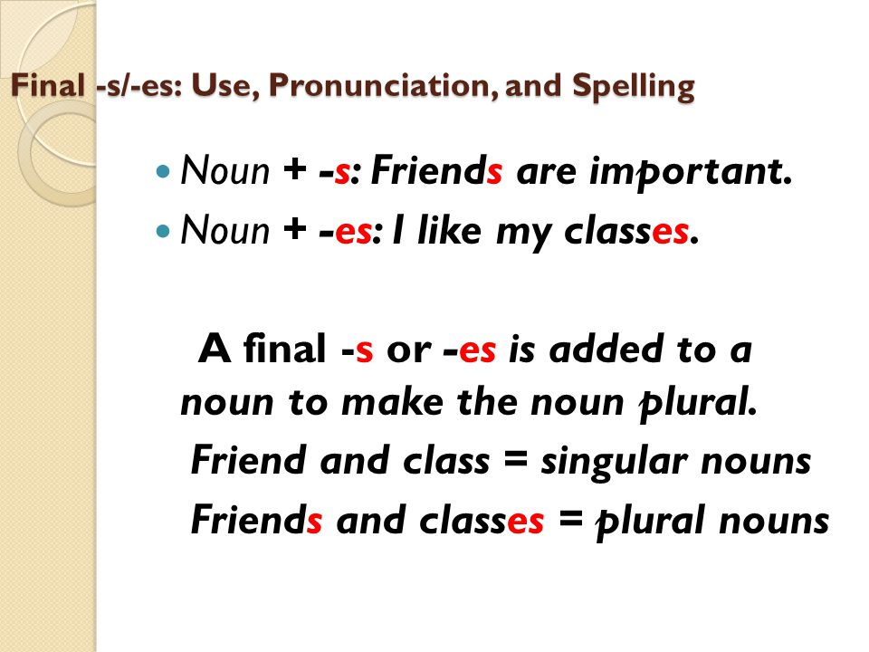 Final -s/-es: Use, Pronunciation, and Spelling