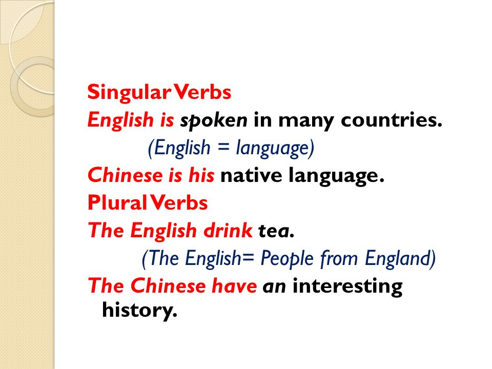 Singular Verbs English is spoken in many countries
