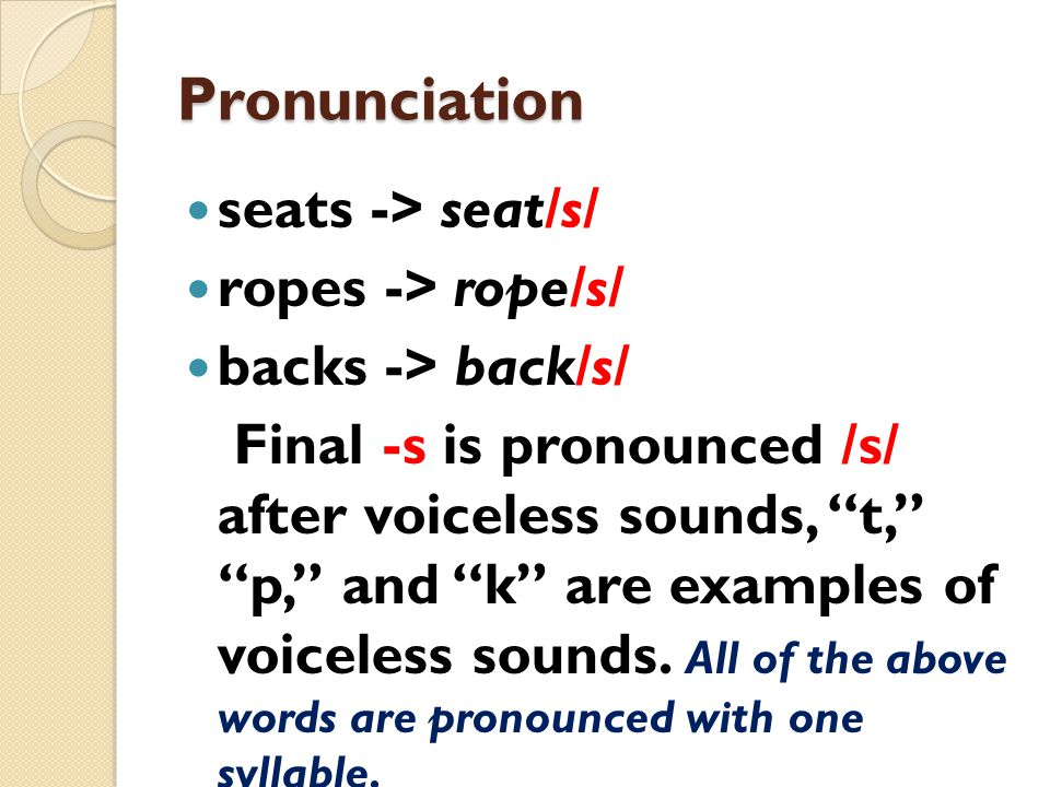 Pronunciation seats -> seat/s/ ropes -> rope/s/