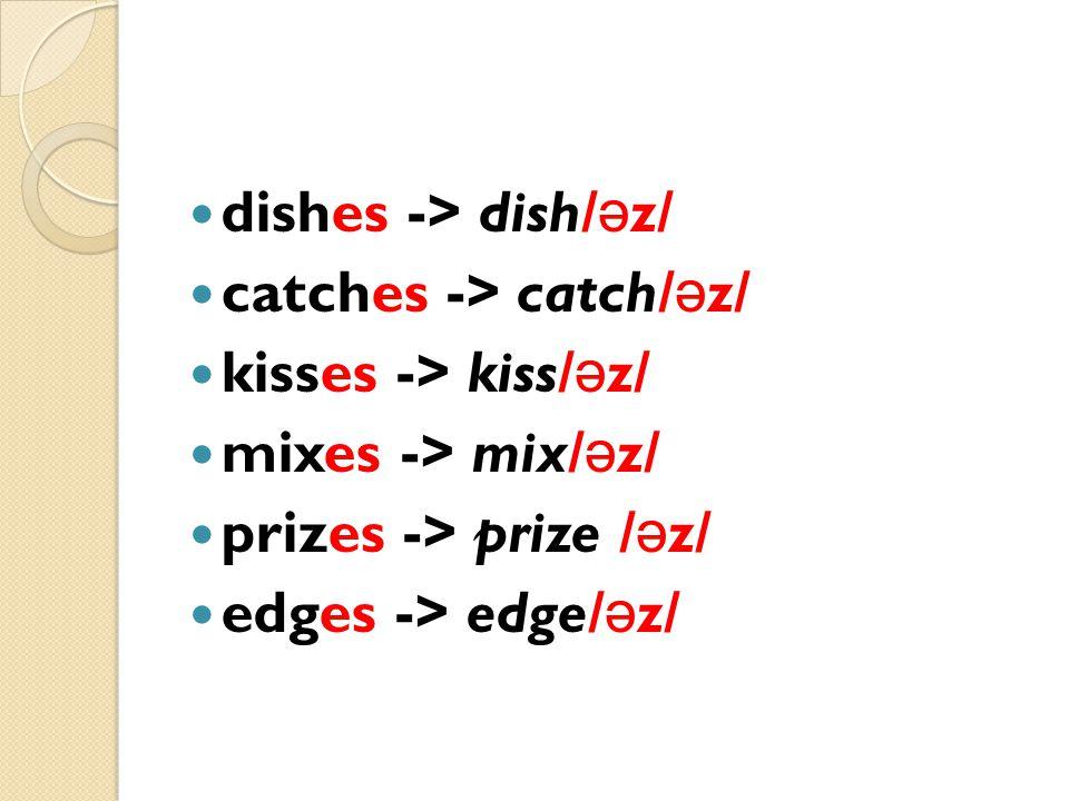 dishes -> dish/əz/ catches -> catch/əz/ kisses -> kiss/əz/ mixes -> mix/əz/ prizes -> prize /əz/