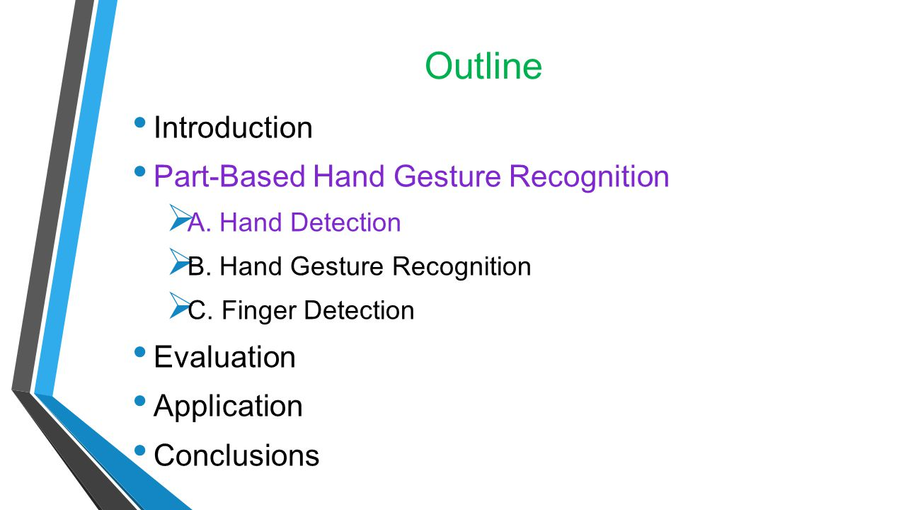 Outline Introduction Part-Based Hand Gesture Recognition Evaluation