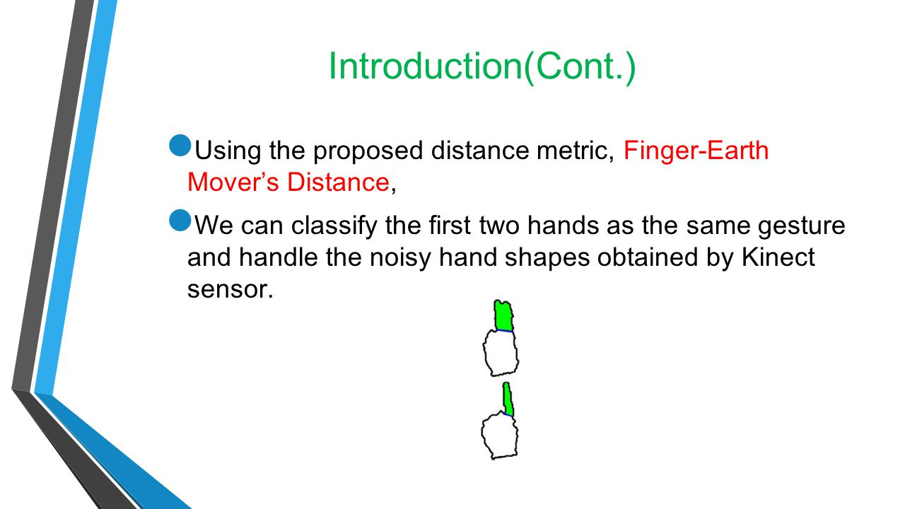 Introduction(Cont.) Using the proposed distance metric, Finger-Earth Mover's Distance,