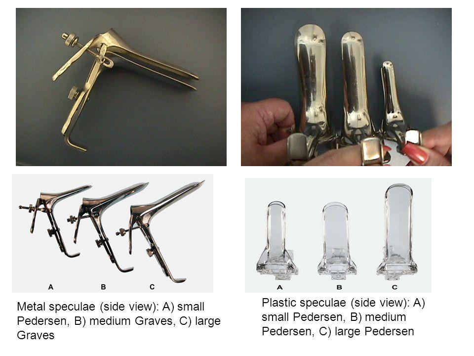 Plastic speculae (side view): A) small Pedersen, B) medium Pedersen, C) large Pedersen