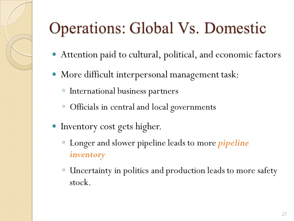 Operations: Global Vs. Domestic