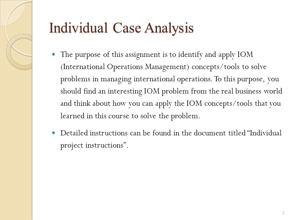 Individual Case Analysis