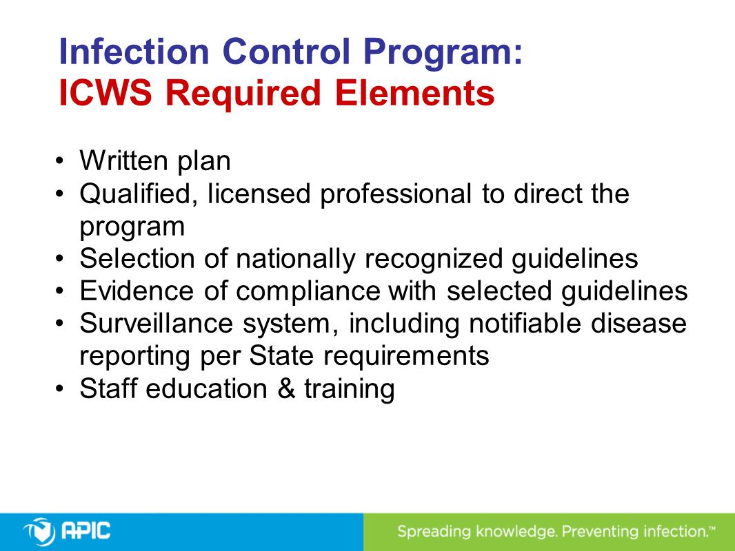 Infection Control Program: ICWS Required Elements