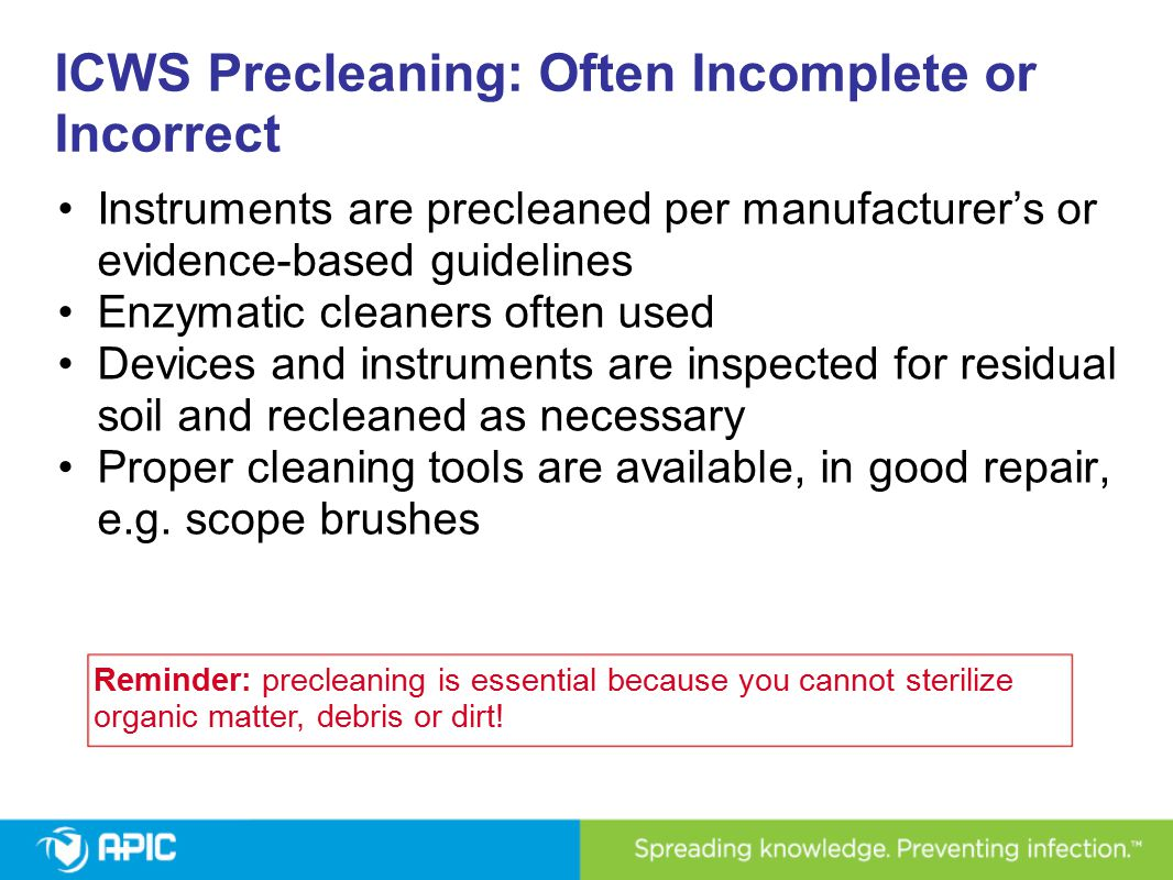 ICWS Precleaning: Often Incomplete or Incorrect