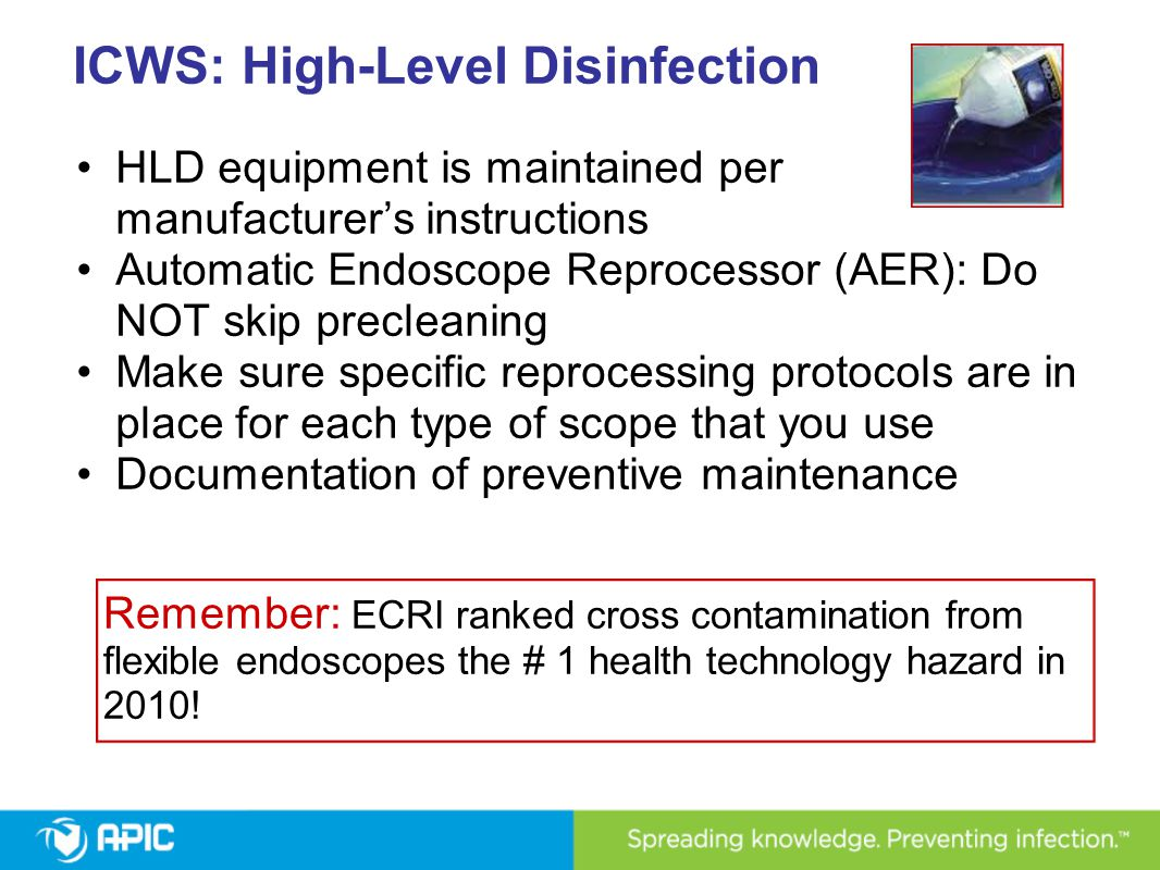 ICWS: High-Level Disinfection