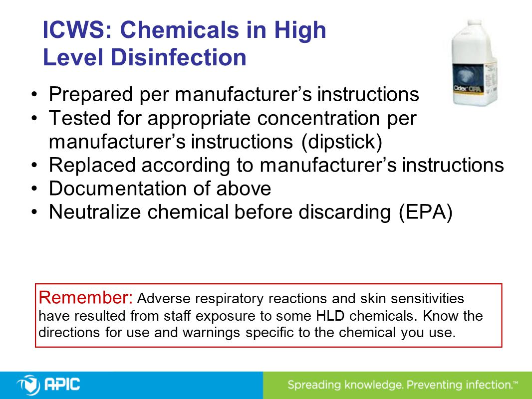 ICWS: Chemicals in High Level Disinfection