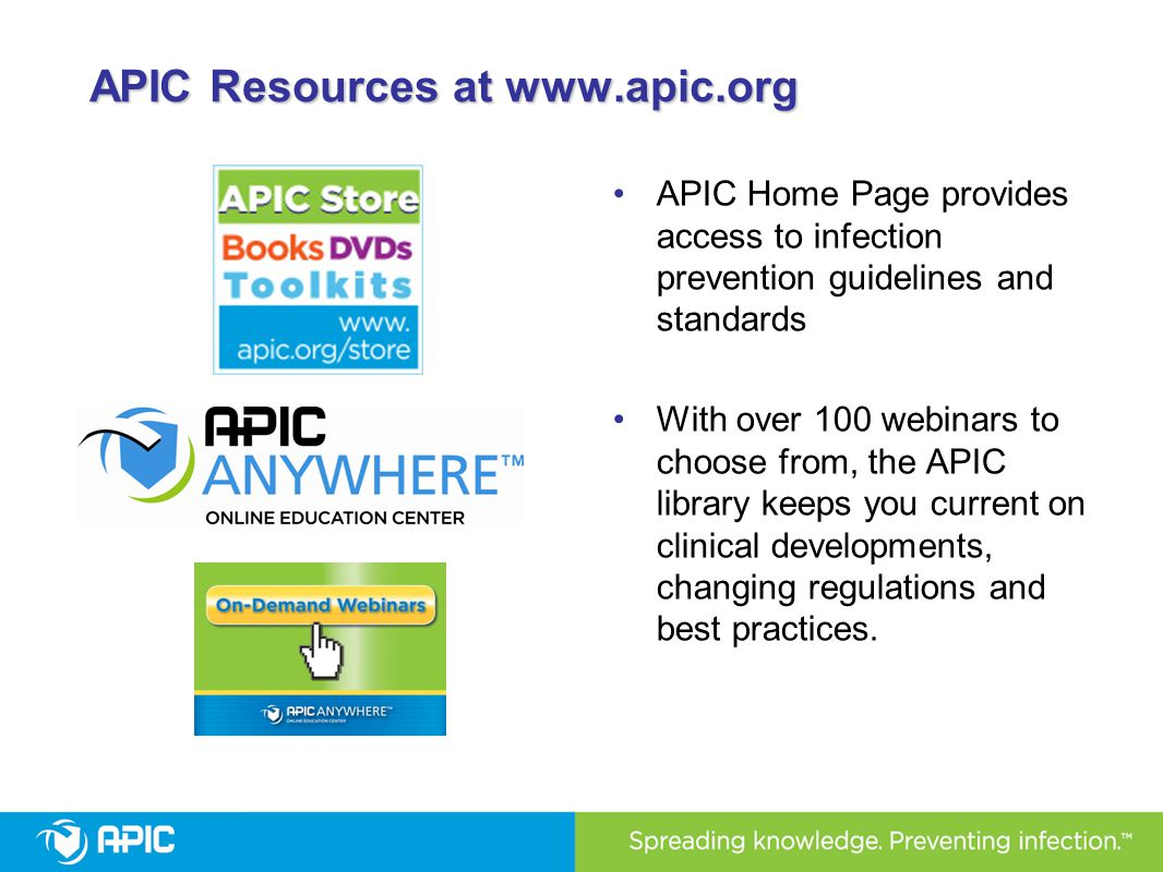 APIC Resources at www.apic.org