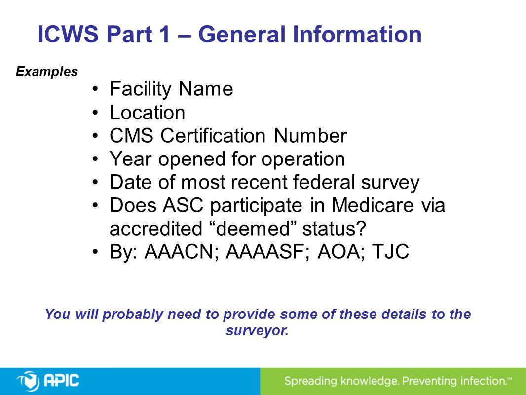 ICWS Part 1 – General Information