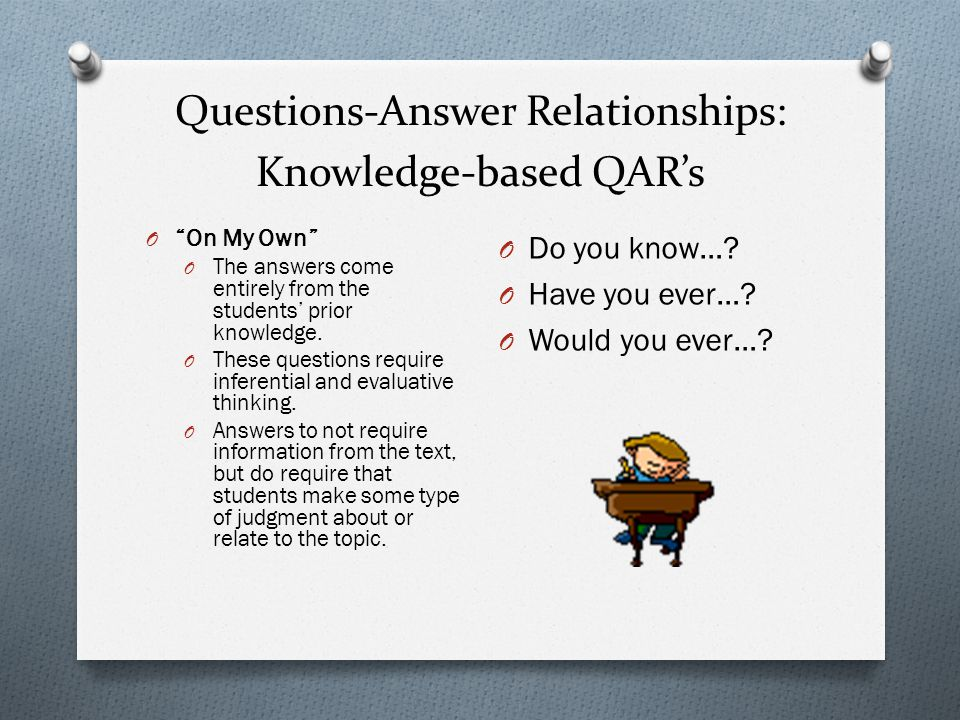 Questions-Answer Relationships: Knowledge-based QAR's