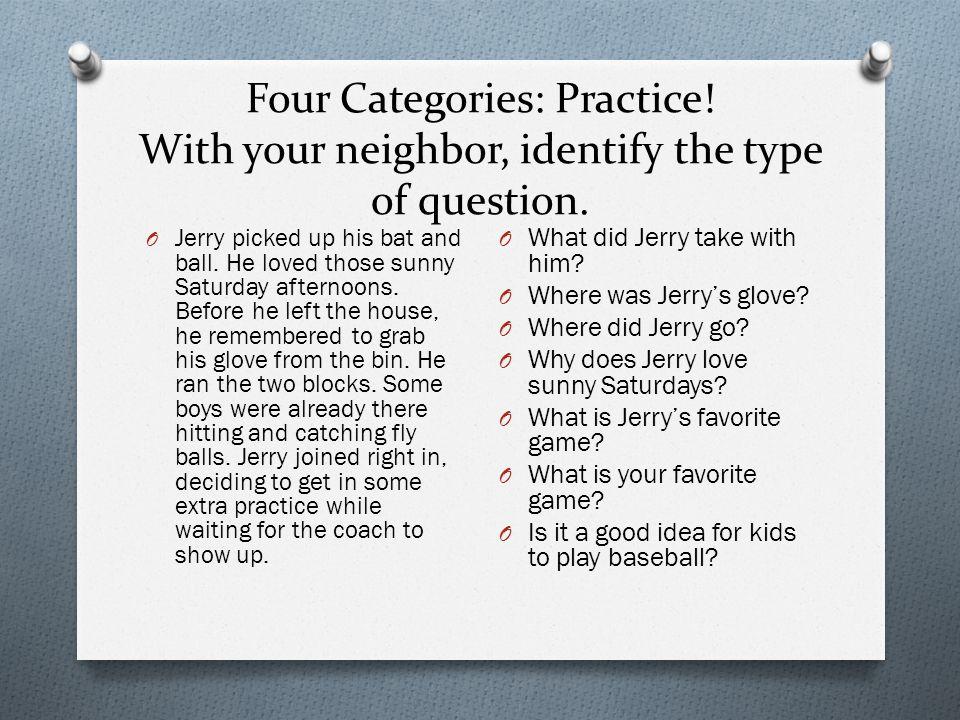 Four Categories: Practice